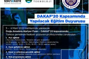 DAKAF'20 Kapsamında Yapılacak Eğitimler