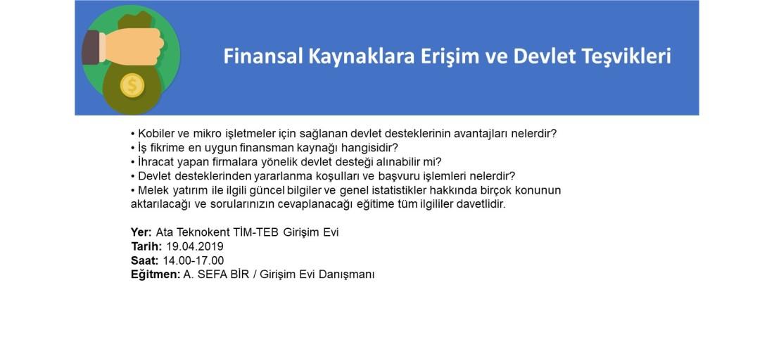 Finansal Kaynaklara Erişim ve Devlet Destekleri Programı